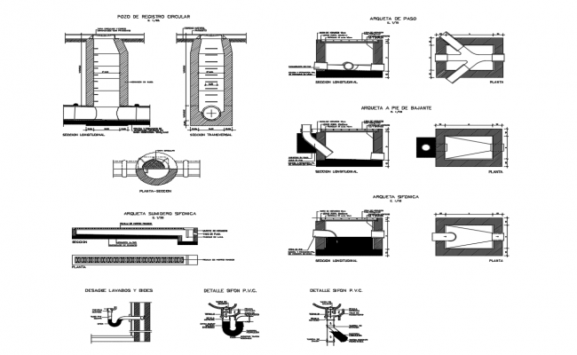 Sanitation section, installation and plumbing details dwg file