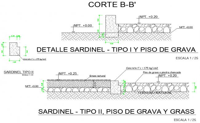 Sardine detail type I and gravel floor detail dwg file