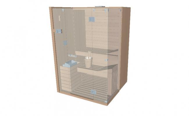 Sauna steam cabinet wooden 3d model cad drawing details skp file