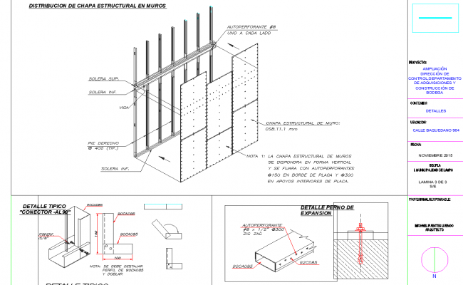 Scaffolding plan and elevation detail dwg file