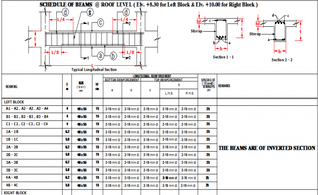 Schedule of beam at right and left block at roof level dwg file