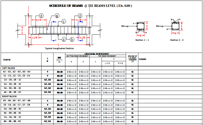 Schedule of beams at tie beam Level of house dwg file