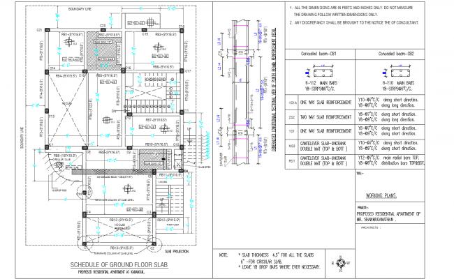 Schedule of ground floor slab detail dwg file