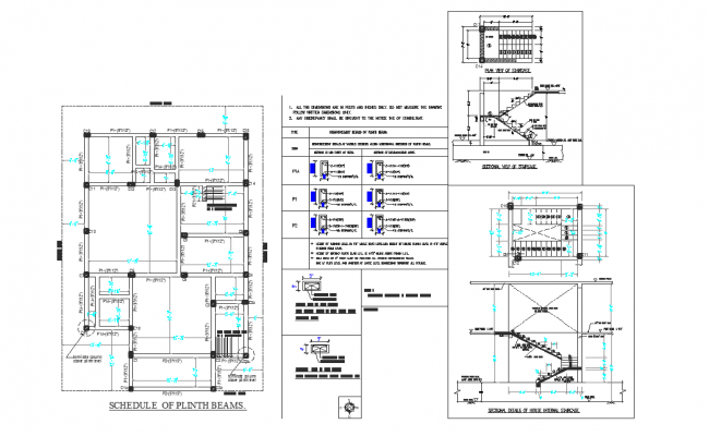 Schedule plan plinth beam detail and stair detail dwg file
