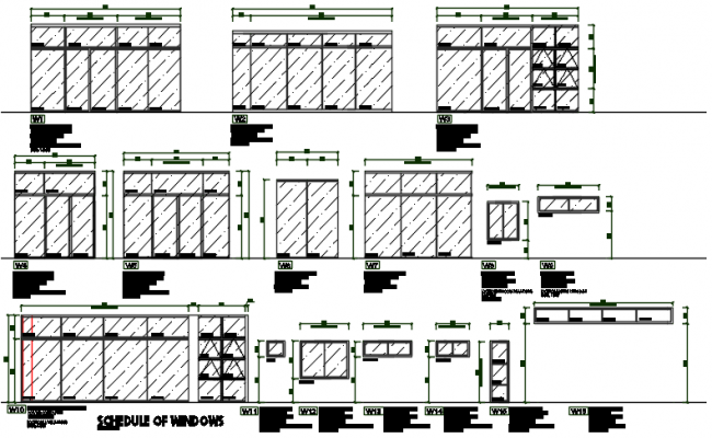 Schedule window framing plan and window framing plan elevation detail dwg file