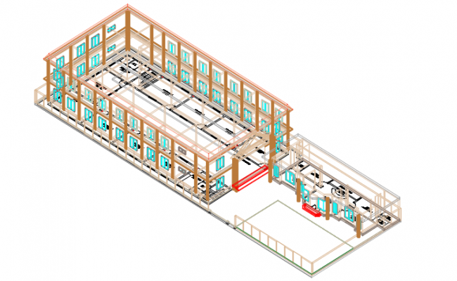 School 3 D elevation detail dwg file