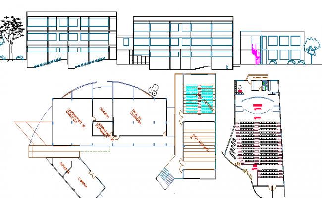 School Architecture Design Structure and Elevation dwg file