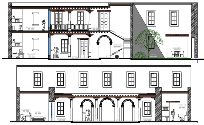 School Architecture Design and Elevation Details dwg file