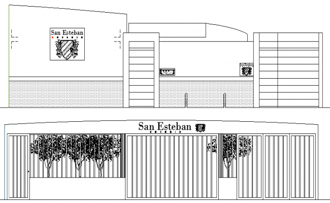 School Architecture Design and Elevation dwg file