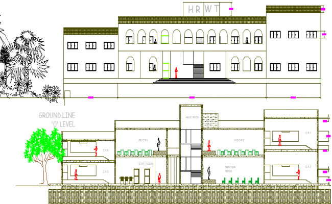School Architecture Design and Front-Back Elevation dwg file