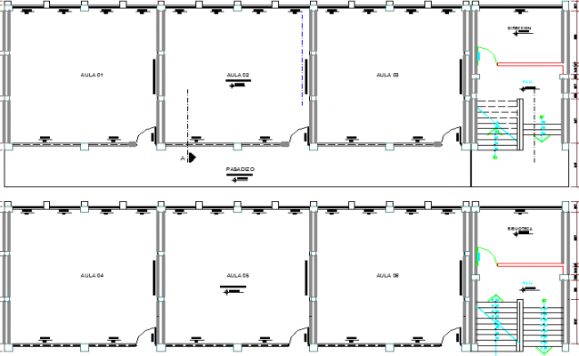 School Architecture Layout plan dwg file