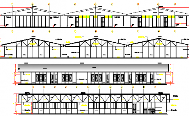 School Architecture Elevation and Section Plan dwg file