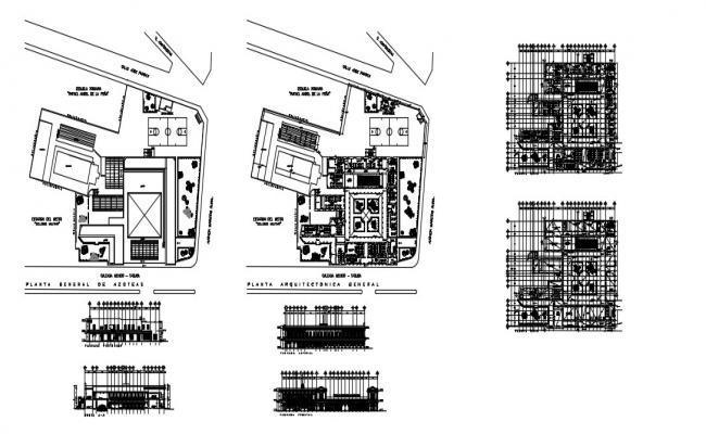 School Building Elevation In DWG File
