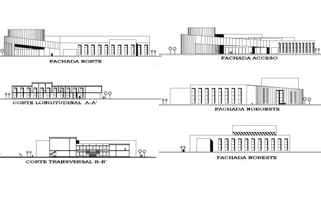 School Drawing with different elevation in dwg file