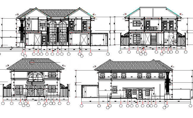 School Elevation Centre line plan detail dwg file