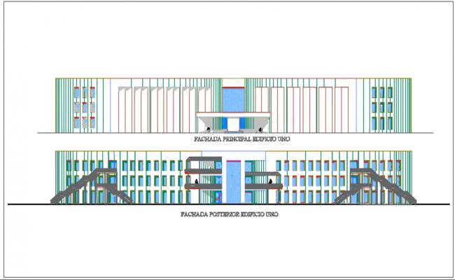 School Elevation commercial plan detail dwg file