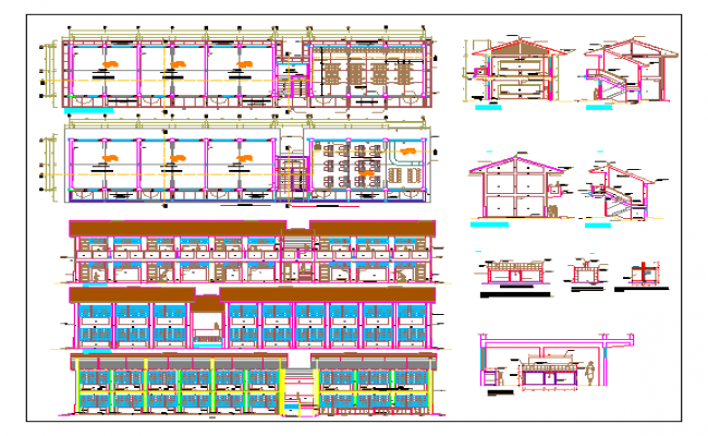 School all sided elevation, layout plan and sectional details dwg file