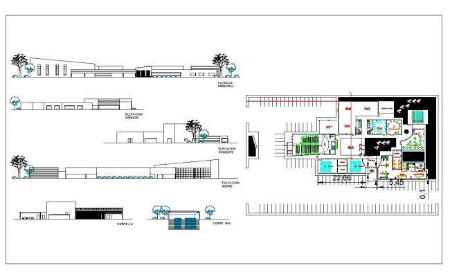 School architecture projects drawing and detail in cad files