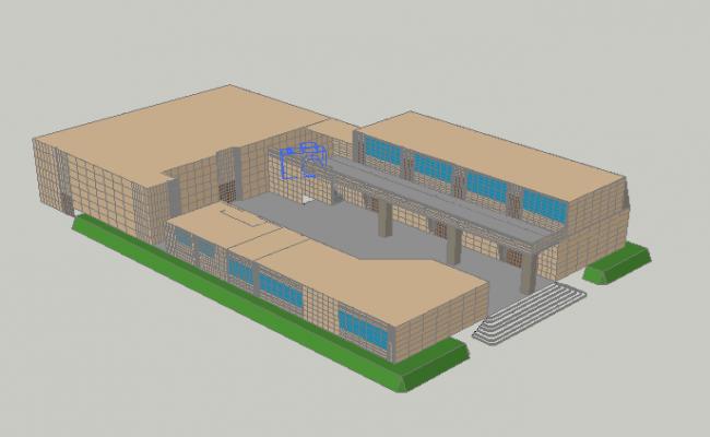 School building 3 D view detail dwg file