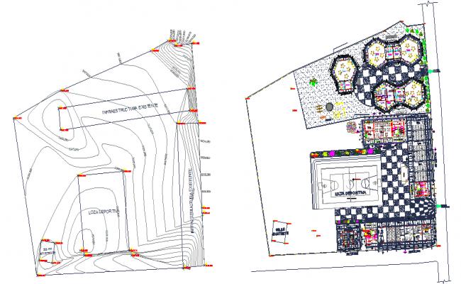 School building Layout orientation dwg file