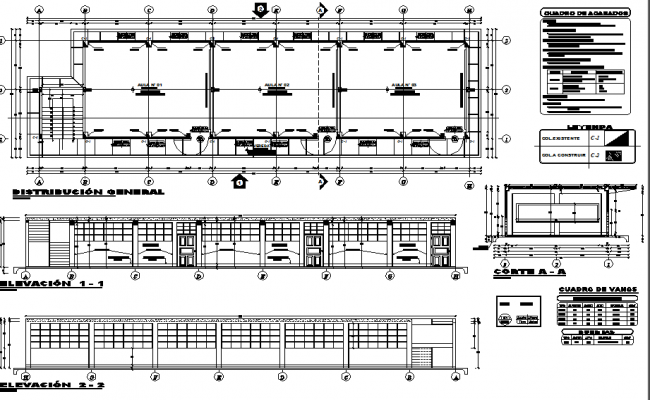 School building plan and elevation detail dwg file