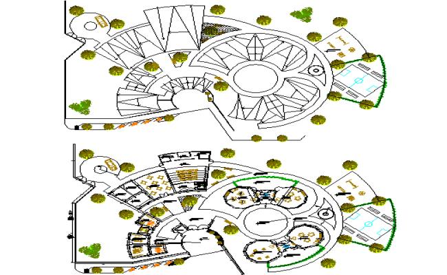 School building plan detail view dwg file
