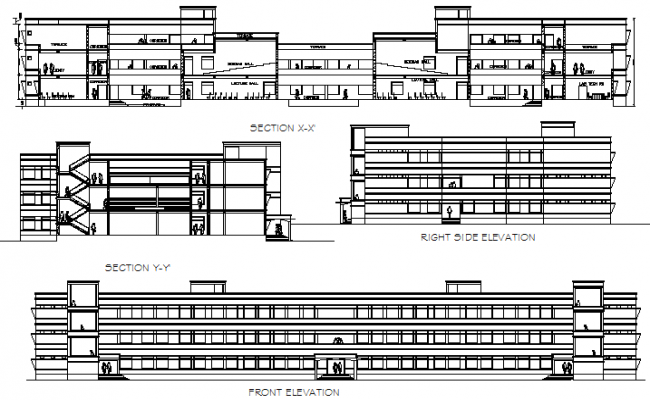 Section Elevation Plan View : School building plan elevation section detail view dwg file