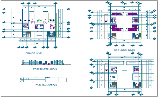 School building plan elevation section detail view dwg file