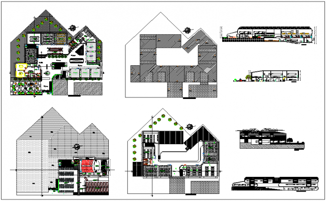 School building planning design and layout view with dwg file