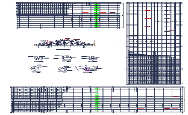 School building roof structure dwg file