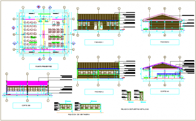 School classroom plan and sectional view with door detail view dwg file