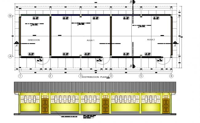 School classroom project plan detail dwg detail.,