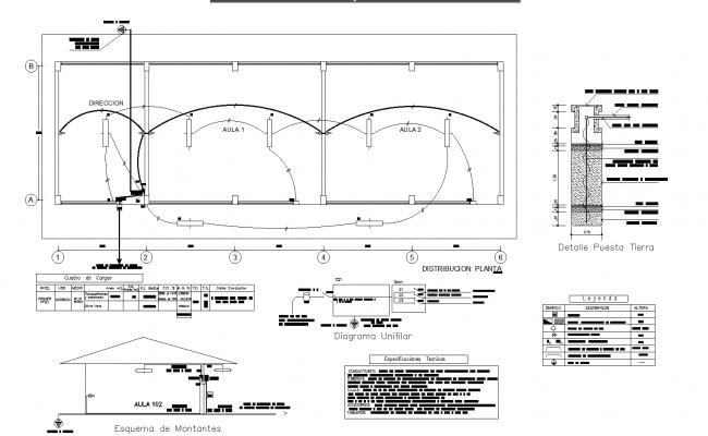 School classroom project plan detail dwg file.