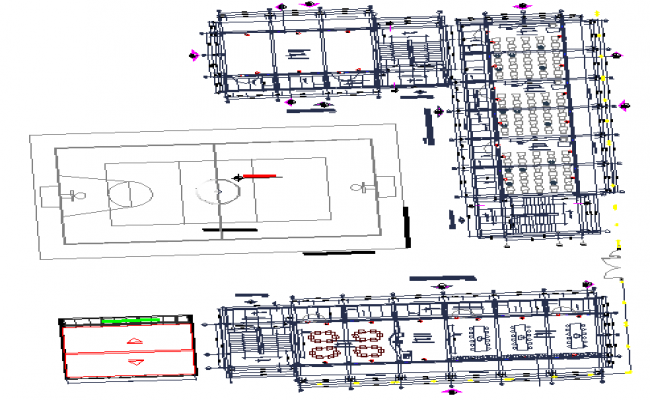 School college building plan and design view dwg file