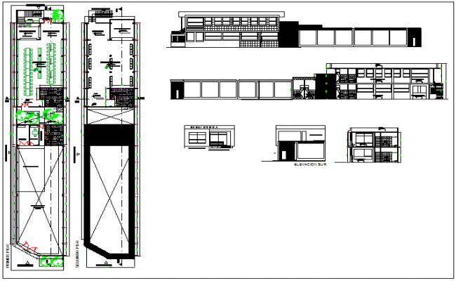 School college institute structure elevation section planning view dwg file