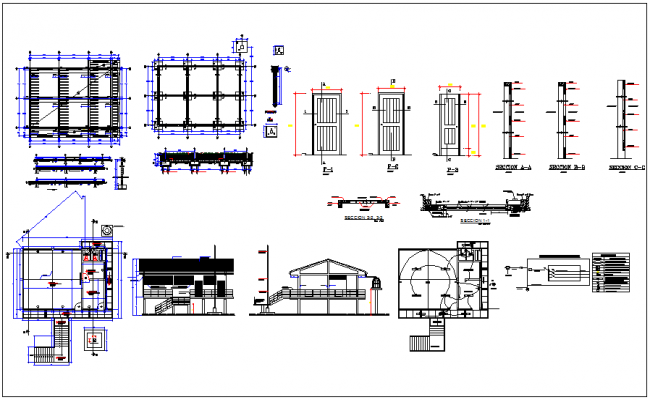 School design view with plan and sectional view with structural,electrical and door view dwg file