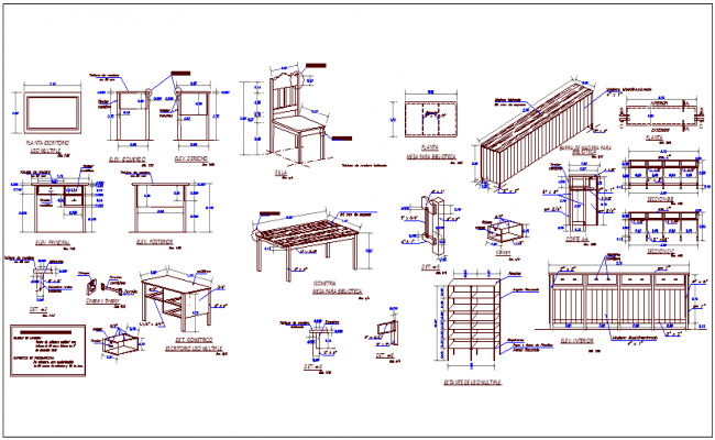 School different types of furniture design view dwg file
