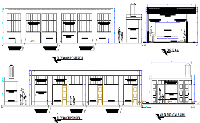 School elevation and section detail dwg file