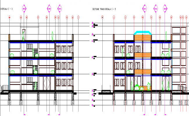School elevation detail dwg file