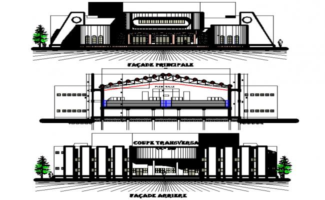 School elevation detail dwg file