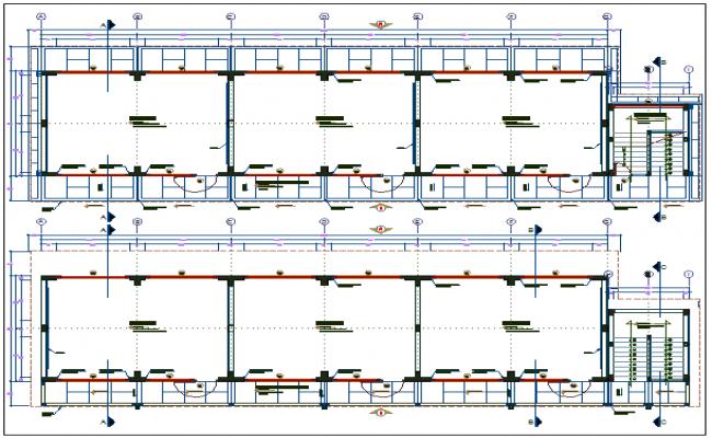 School floor plan with construction view dwg file