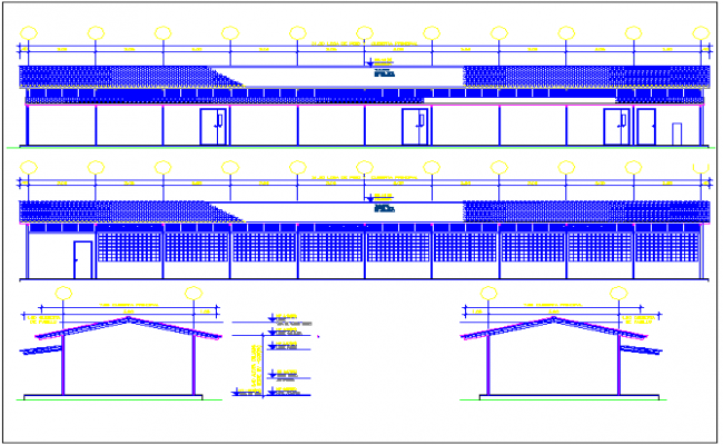 School front and back elevation with side sections dwg file