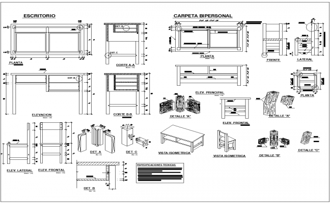School furniture view detail dwg file