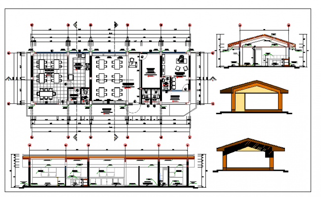 School module section and layout plan details dwg file