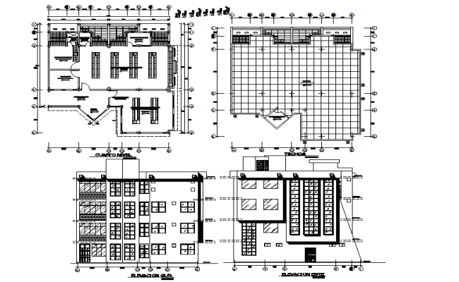 School plan and elevation detail dwg file