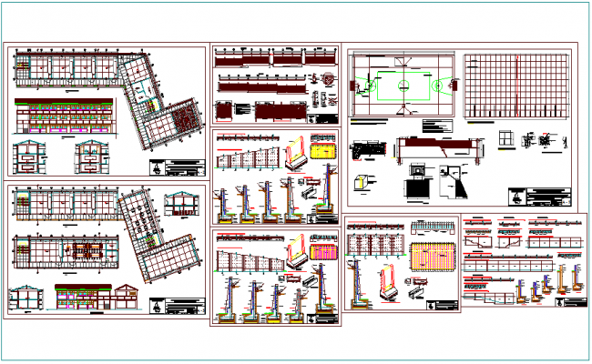 School plan and sectional elevation view with court and construction view dwg file