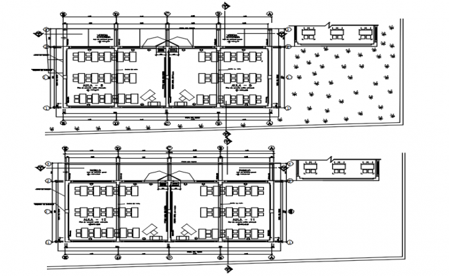 School plan with detail dimension in autocad