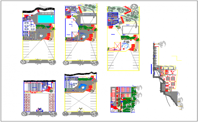 School structure on hill area dwg file