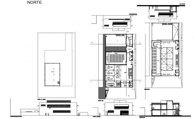 School with hostel architecture project dwg file
