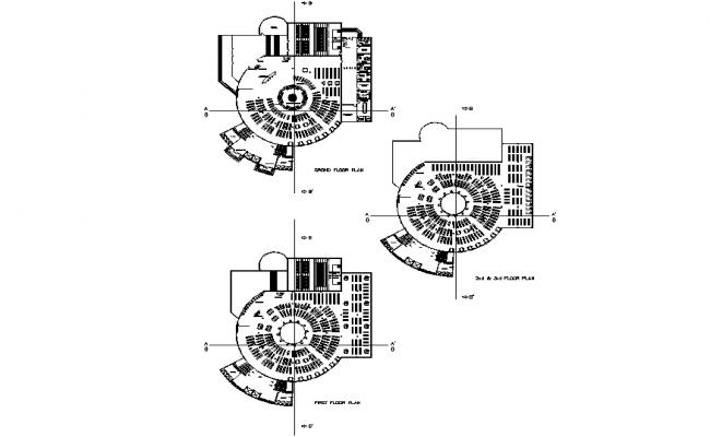 Scientific center plan detail dwg file